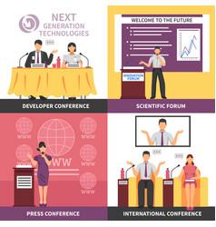 conference hall interior icon set vector image