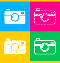 digital photo camera sign four styles of icon on vector image vector image