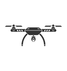 Drone with camera black isolated icon vector image