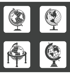 Earth globe icons set vector image vector image