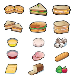 Food Sandwiches and ingredients set vector image