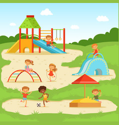 funny children at summer playground kids playing vector image