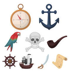 pirates set icons in cartoon style big collection vector image vector image