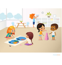 smiling kids doing different tasks at primary vector image