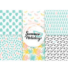 summer trendy seamless patterns vector image vector image