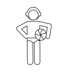 water polo player ball cap outline vector image
