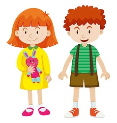 Boy and girl with happy face vector image vector image
