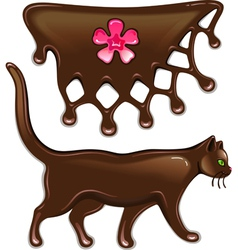 Chocolate marmalade flower decor and cat vector image