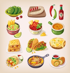 Colorful mexican food vector image