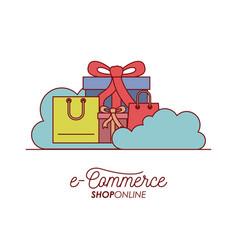 e-commerce shop online set gift and shopping bag vector image