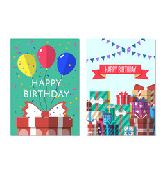 happy birthday greeting card design set vector image