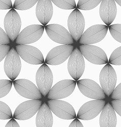 Monochrome gray striped six pedal flowers vector image vector image