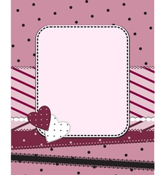 pink frame with two hearts vector image vector image