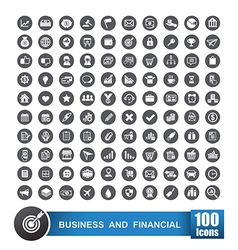 Set of 100 icons business and financial on grey vector image vector image