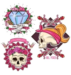 Colored tattoo set vector