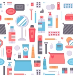Cosmetic seamless pattern cosmetology art vector image