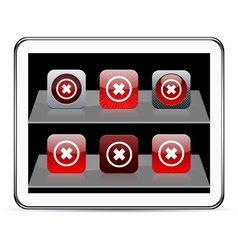 Delete cross red app icons vector image vector image