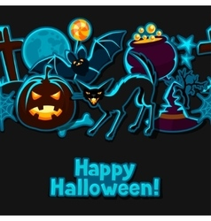 Happy halloween seamless pattern with stickers vector image vector image