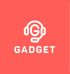headphones with letter g from center of the gadget vector image