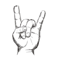 line hand up with rock symbol vector image