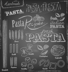 pasta and chalk typography on a chalkboard vector image