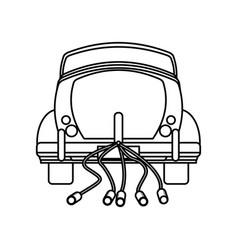 car vintage wedding outline vector image