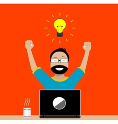 Designer enjoys success in its activities vector image vector image