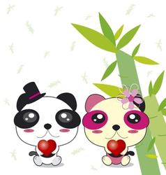 Panda couple vector image vector image