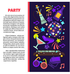 party poster for birthday celebration or disco vector image vector image