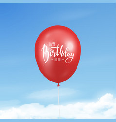 3d realistic glossy red balloon with ribbon vector image