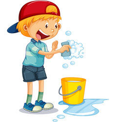 A boy holding sponge washing and water bucket vector