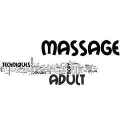 Adult massage text word cloud concept vector
