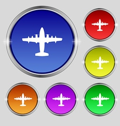 Aircraft icon sign Round symbol on bright vector