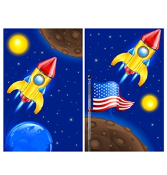 american retro rocket ship vector image