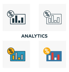 analytics icon set four elements in diferent vector image