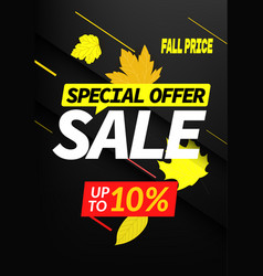 autumn sale special offer up to 10 discount banner vector image