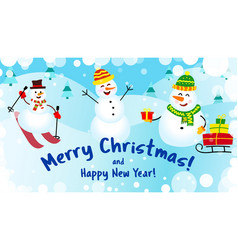 Banner merry christmas and happy new year three vector