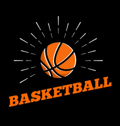 basketball sport ball logo icon sun burtst print vector image