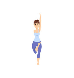 beautiful woman standing in tadasana pose girl vector image