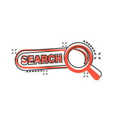 cartoon search bar ui icon in comic style search vector image