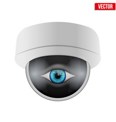 CCTV security camera with human eye vector