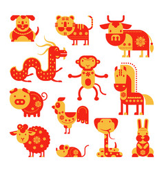 chinese horoscope horoscopy animal symbol vector image