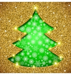 Christmas tree card with glitter vector