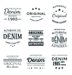 Classical denim jeans typography emblems vector