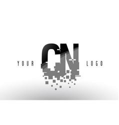 Cn c n pixel letter logo with digital shattered vector