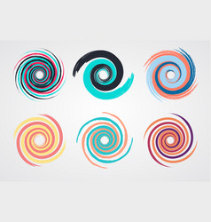 Color spiral swirl set circle vector