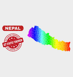 Colored mosaic nepal map and grunge get started vector