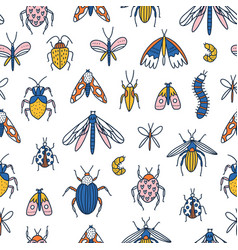 colorful cartoon insects seamless pattern vector image
