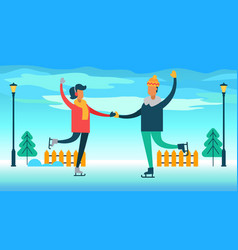 couple figure skating on ice vector image