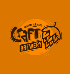 craft brewery logo with a beer hop vector image